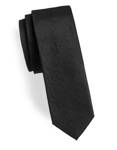 Hugo Metallic Slim Tie-BLACK-One Size