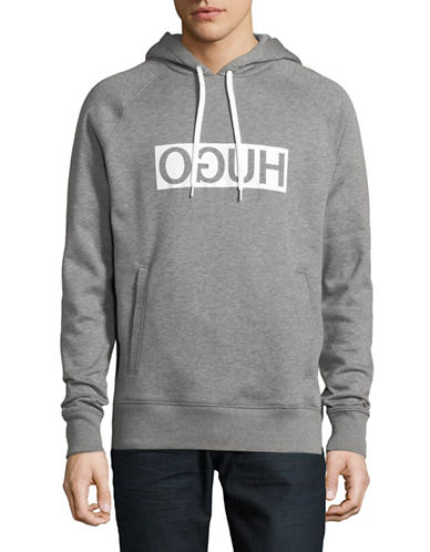 Hugo Unisex Cotton Logo Hoodie-GREY-Small