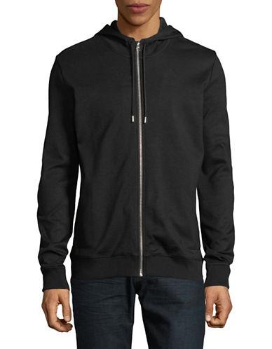 Hugo Cotton Hooded Sweatshirt-BLACK-X-Large