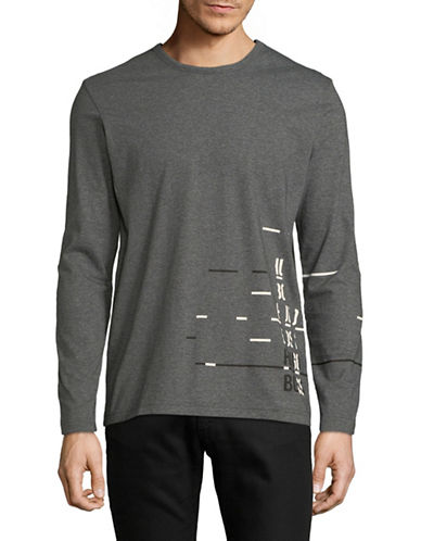 Boss Green Long Sleeve Cotton Tee-GREY-Large
