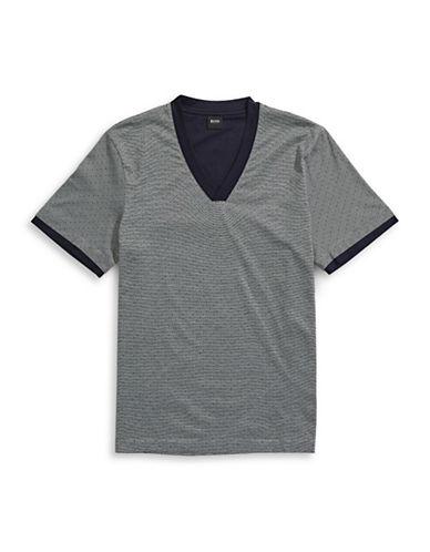 Boss V-Neck Dotted Stripe Sleep T-Shirt-GREY-X-Large 88626744_GREY_X-Large