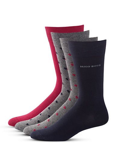 Boss Four-Pack Mid-Calf Socks Set-DARK BLUE-Large