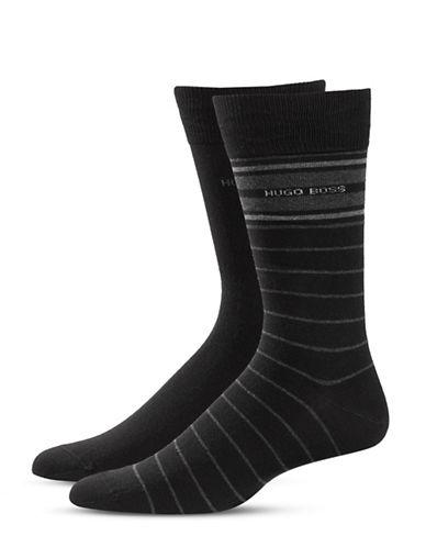 Boss Stripe Logo Mid-Calf Socks-BLACK-Large
