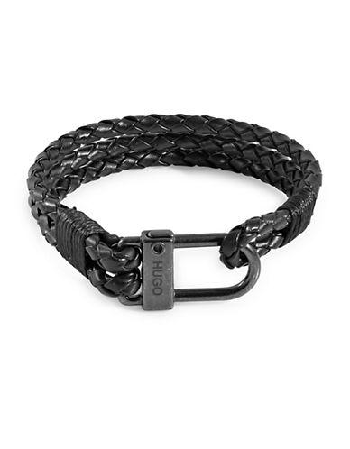 Hugo E-Hook Gunmetal-Tone Bracelet-BLACK-One Size