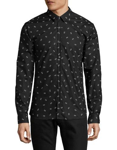 Hugo Printed Cotton Sportshirt-BLACK-Small