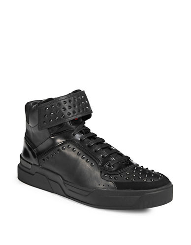 Hugo Symmetric Leather Stud Sneakers-BLACK-10