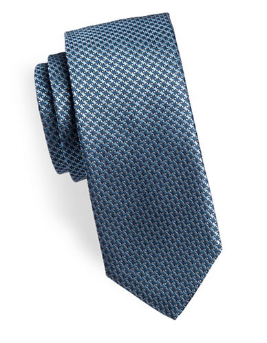 Hugo Houndstooth Slim Silk Tie-BLUE-One Size