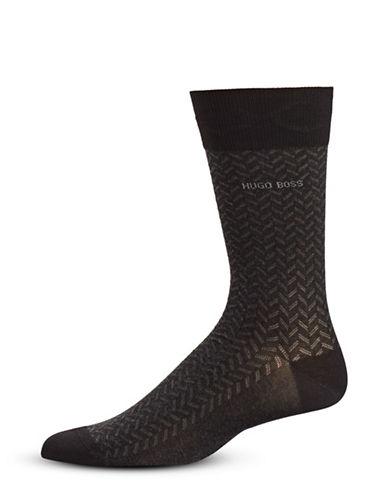Boss Pattern Mid-Calf Socks-BLACK-Large