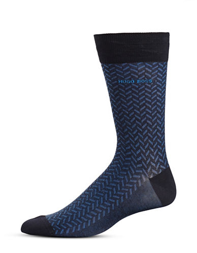 Boss Pattern Mid-Calf Socks-DARK BLUE-Large