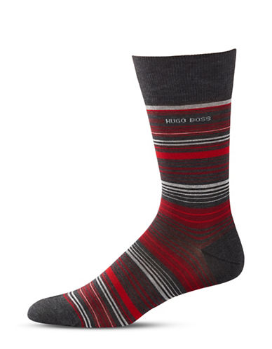 Boss Multi-Striped Mid-Calf Socks-CHARCOAL-Large