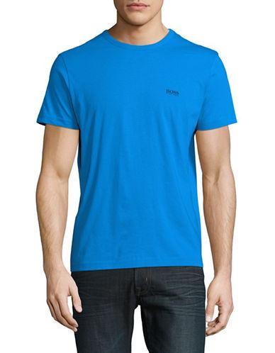 Boss Green Short Sleeve Cotton Tee-OPEN BLUE-Medium