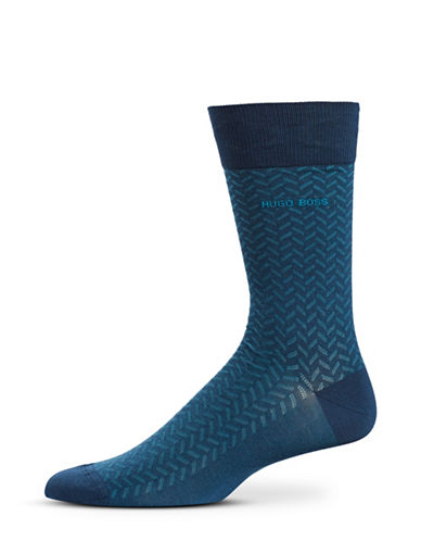 Boss Pattern Mid-Calf Socks-BLUE-Large