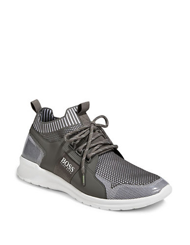 Boss Green Extreme Knit Running Sneakers-LIGHT GREY-12