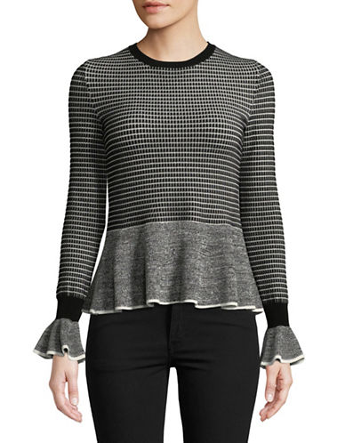 Hugo Long Sleeve Peplum Sweater-BLACK-X-Small