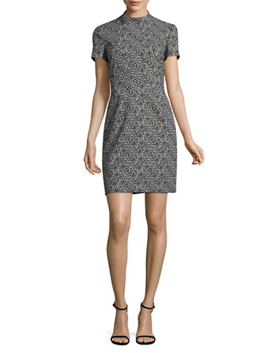 Hugo Kirsi Mock Neck Jacquard Sheath Dress-BLACK-EUR 38/US 6