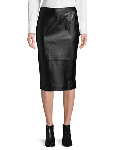 Hugo Limoni Leather Midi Pencil Skirt-BLACK-Large