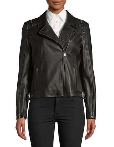 Hugo Levana Leather Jacket-BLACK-Medium
