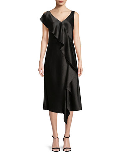 Hugo Asymmetric Ruffle Dress-BLACK-EUR 38/US 6