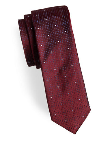 Hugo Square Slim Silk Tie-RED-One Size