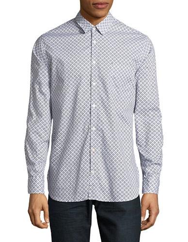 Boss Orange Patterned Cotton Sportshirt-BLACK/WHITE-Large
