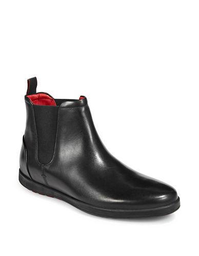 Hugo Round Toe Leather Chelsea Boots-BLACK-11