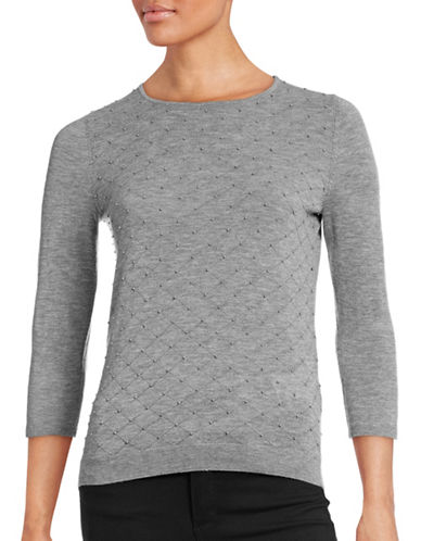 Hugo Virgin Wool-Cashmere Beaded Sweater-GREY-Medium 88705215_GREY_Medium