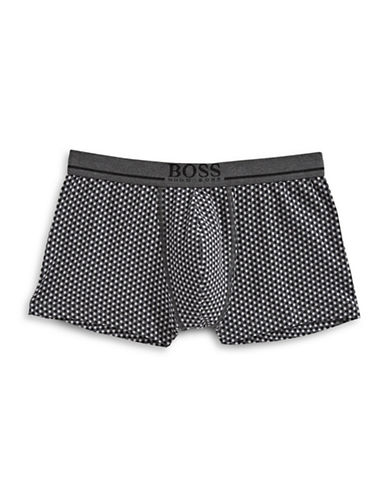 Boss Printed Stretch Cotton Trunks-GREY-X-Large