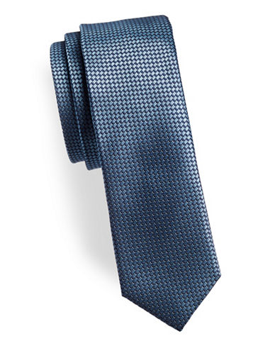 Hugo Dotted Slim Silk Tie-BLUE-One Size