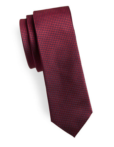 Hugo Dotted Slim Silk Tie-RED-One Size