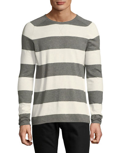 Hugo Stripe Round Neck Sweater-GREY-Small