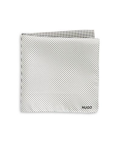 Hugo Geometric-Print Silk Pocket Square-WHITE/BLACK-One Size