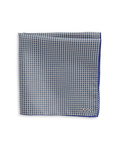 Hugo Geometric-Print Silk Pocket Square-BLUE-One Size