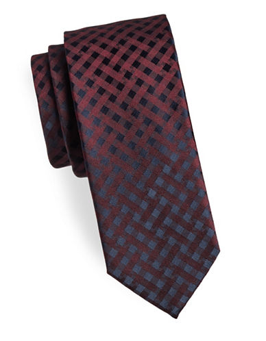 Hugo Checkered Silk Tie-RED-One Size