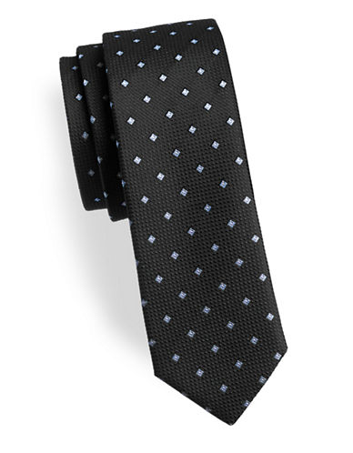 Hugo Diamond Slim Silk Tie-BLACK-One Size