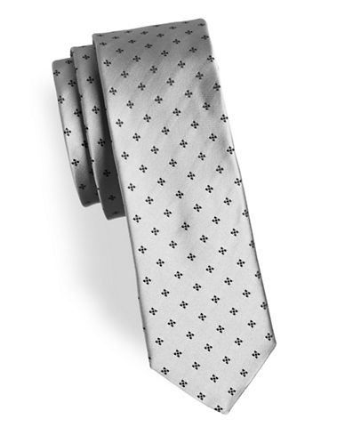 Hugo Geometric Silk Tie-GREY-One Size