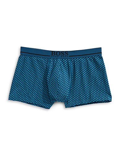 Boss Printed Stretch Cotton Trunks-MEDIUM BLUE-X-Large