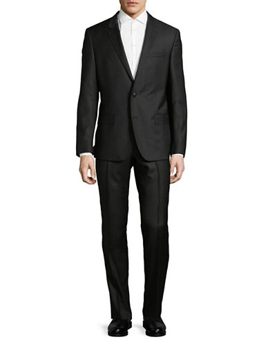 Hugo Windowpane Wool Suit-BLACK-38