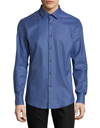 Hugo Slim-Fit Cotton Sport Shirt-BLUE-EU 42/US 16.5