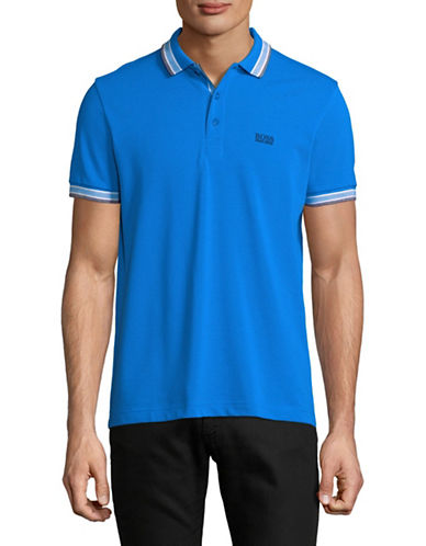 Boss Green Paddy Cotton Polo-BLUE-X-Large