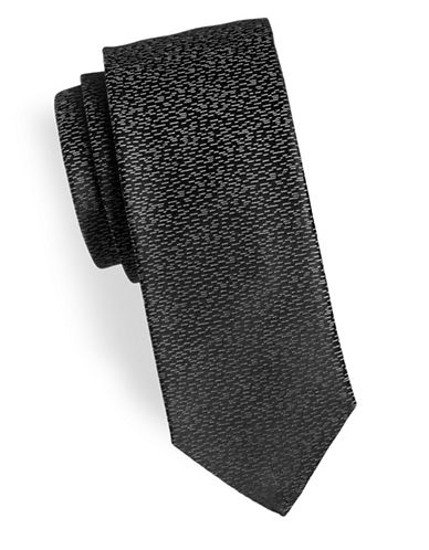 Hugo Speckled Silk Tie-BLACK-One Size