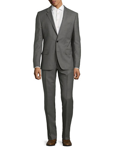 Hugo Checkered Wool Suit-GREY-40 Short