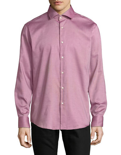Hugo Cotton Long Sleeve Sportshirt-PURPLE-EU 42/US 16.5