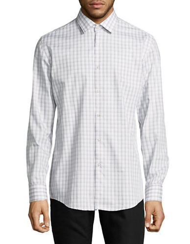 Hugo Jenno Cotton Sportshirt-GREY-EU 38/US 15