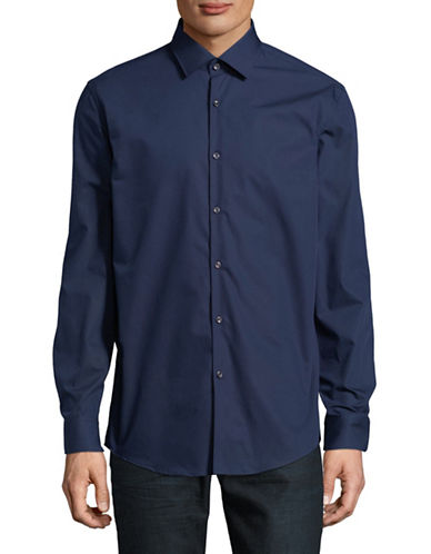 Hugo Joey Cotton Sport Shirt-BLUE-EU 39/US 15.5