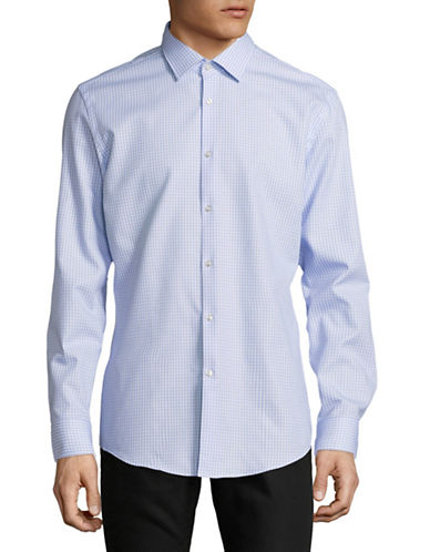 Hugo Jenno Gingham Cotton Sport Shirt-BLUE-EU 39/US 15.5