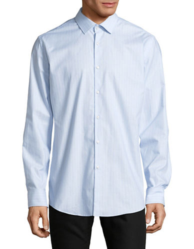 Hugo Jenno Pinstripe Cotton Sport Shirt-BLUE-EU 44/US 17.5