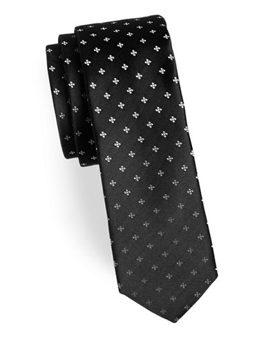 Hugo Geometric Silk Tie-BLACK-One Size