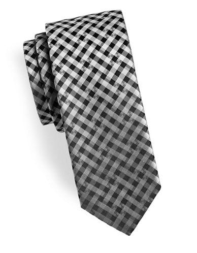 Hugo Checkered Silk Tie-BLACK-One Size