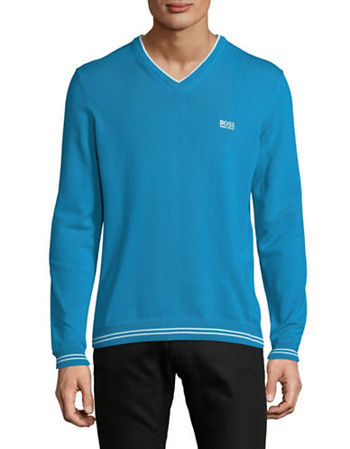 Boss Green V-Neck Sweater-BLUE-Medium