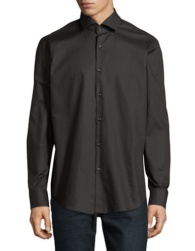 Hugo Gordon Cotton Sportshirt-BLACK-EU 43/US 17